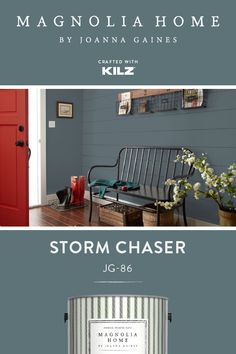 Create a bold sophisticated look with Storm Chaser from the Magnolia Home by Joanna Gaines® Paint collection. Combined with dark wood tones and a bright accented door this paint color helps create a statement entryway. Click below for full color details. Magnolia Paint Colors, Magnolia Homes Paint, Paint Colors For Home, Entryway Paint Colors, Shabby Chic Baby, Room Colors, House Colors, Casas Magnolia, Apartment Therapy