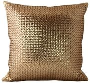 Bling Bling Woven Leather Pillow in Antique Gold from Lance Woven Leather on Taigan