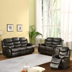 Centerton Leather Reclining Sofa Set - Black by Homelegance. $1799.99. Sofa dimensions: 77W x 38D x 39H in.. Loveseat dimensions: 57W x 38D x 39H in.. Chair dimensions: 34.5W x 38D x 39H in.. Tufted microfiber upholstered in black faux leather. Features a quick release reclining mechanism. About Homelegance, Inc. Homelegance takes pride in offering only the highest quality home furnishings that incorporate innovative design at the best value. From dining sets to mirrors, sofas,...