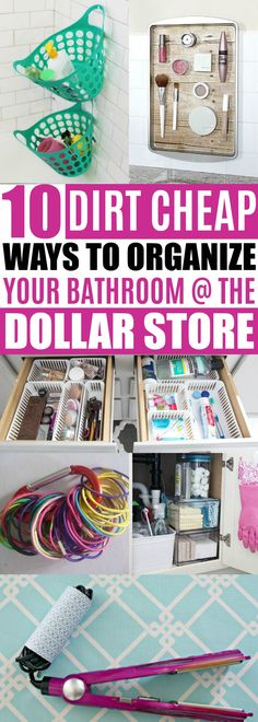 Bathroom Organizing Ideas Dollar Store, Cheap Organization Ideas For The Home - DIY Home Decor Suggestions to Lift The Look of Any Room - Organisation Hacks, Office Organization, Diy Bathroom, Bathroom Hacks, Bathroom Ideas, Budget Bathroom, Bathroom Renovations, Bathroom Closet, Cheap Bathrooms
