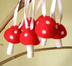 needle felted mushroom ornament ♥