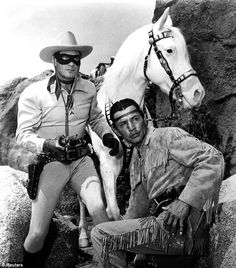 Clayton Moore and Jay Silverheels in the 1950s TV series    Read more: http://www.dailymail.co.uk/tvshowbiz/article-2112167/The-Lone-Ranger-First-look-Armie-Hammer-Johnny-Depp-Tonto.html#ixzz1oZzdtCuU