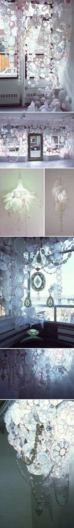 I like this because we are learning how to manipulate and work with paper, and that is what this installation is made out of. This shows what beautiful things we can make out of paper. Paper is not a limiting material, but you can transform it into something gorgeous.