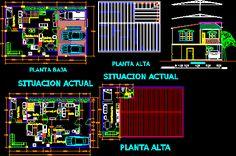 Plano arquitectonico casa 2 plantas en DIBUJO DE AUTOCAD | BiblioCAD