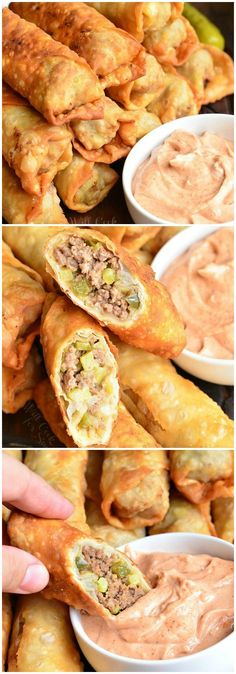 Easy Cheeseburger Egg Rolls stuffed with juicy ground beef, melted cheese, and pickles. It's served with a simple sauce on a side.