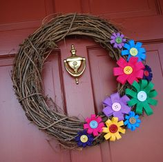 Easy  Felt And Button Flowers On Grapevine Wreath
