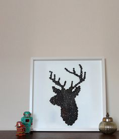 Stags Head  Button Framed Picture by Greatbuttonuk on Etsy, £165.00