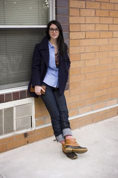 Girls in Bean Boots    like the cuffed denim so you get a pop of color from the socks