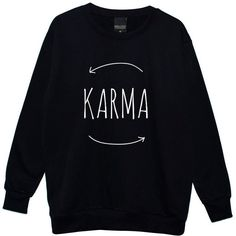 Karma Boyfriend Oversized Sweater Jumper Womens Ladies Fun Tumblr... ($28) ❤ liked on Polyvore featuring tops, hoodies, sweatshirts, sweaters, shirts, black, women's clothing, black top, black star shirt and boyfriend shirt