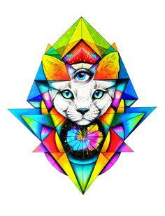Tercer ojo gato blanco-Art impresión mano firmado por PixieColdArt