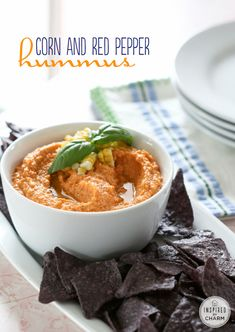 Sweet Corn, Roasted Red Pepper and Chickpea  Hummus