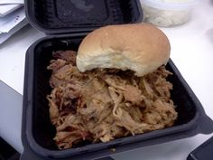 Pulled Pork sammie from Redbones truck- store-bought hamburger roll, really?