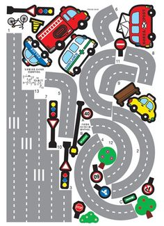 Kids Wall Decal Deco Point Sticker / Race Track Wall Decal Sticker / Car and Road Street Sticker / Kids Wall Decals, Wall Decal Sticker, Preschool Activities, Activities For Kids, Decoration Creche, Diy For Kids, Crafts For Kids, Diy And Crafts, Paper Crafts