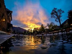 Sunset at the Glenwood Hot Springs Pool, the world's largest hot springs