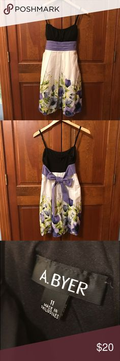 Summer Sun Dress white/black/purple/green colors, above the knee, cute with leggings too, juniors size 11, great condition, smoke free home A. Byer Dresses