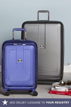 Don't leave for your honeymoon without the perfect set of luggage. This Delsey hardside collection has a built-in weight indicator and expands a couple extra inches so you can make sure those souvenirs fit! Go to macys.com now to add them to your registry.