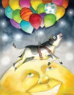 Over the moon! katiewools.com balloon cow illustration kid ...