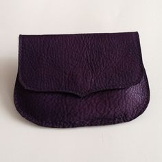 Purple leather coin purse pouch with flap and by BellingerBags, $30.00