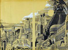 Original science-fiction pulp illustration by Frank R. Paul.