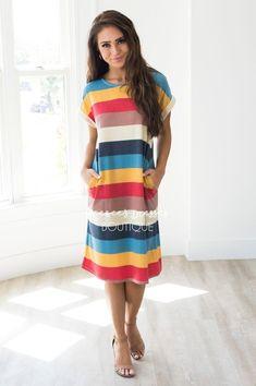 The Dorris Striped Modest Midi Dress - NeeSee's Dresses Tulle Dress, Chiffon Dress, Vertical Striped Dress, Button Skirt, Wide Stripes, Block Dress, Flowy Skirt, Modest Dresses, Dress Making