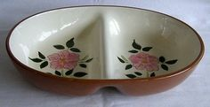 Vintage Mid Century Stangl Pottery Wild Rose 10 Inch Oval Divided Vegetable Bowl