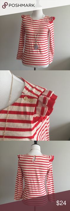 Juicy Couture Red & Cream Striped Ruffle Top Love this nautical influenced long sleeve cotton blouse! All about the detail on the shoulders...double ruffle and gold button detail.  Soft 100% cotton Size XL (12-14) Cute gold Juicy heart on the lower left hand corner ❤️ Juicy Couture Tops Blouses