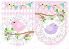 invitaciones y toppers de pajaritos - Buscar con Google Bird Birthday Parties, Garden Birthday, Baby Birthday, Happy Birthday Banner Printable, Happy Birthday Banners, Bird Party, Baby Shawer, Bunting Banner, Little Birds