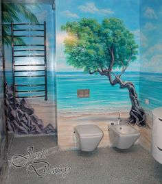 Bathroom Custom Painted Wall Mural Hand Idea Ceiling Murals