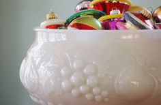 Vintage Jeannette Milk Glass Fruit Embossed Punch Bowl, Large Milk Glass Pedestal Bowl Winter White Christmas Wedding Bridal Vintage Kitchen - SOLD! :)