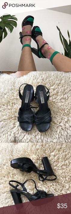 """90's GUESS stack heel Vintage GUESS stack heel beautiful worn in soft leather . They have signs of wear in vintage pre loved condition . Stack heel is 4"""" Vintage Shoes Heels"""
