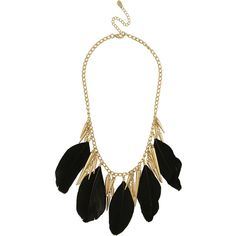 Miso Spike & Feather Statement Necklace (535 PHP) found on Polyvore