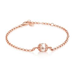 Emma Kate Rose Gold Bracelet - £75.00. A stylish yet simple sterling silver bracelet plated in an indulgent rose gold vermeil, by Emma Kate Francis, which combines a classic vintage style with her Art Nouveau influence. Comprising a belcher chain bracelet with a single white freshwater pearl held by intricately designed caps. #jerseypearl #emmakate #internationalwomensday #amulet #amuletfinejewellery