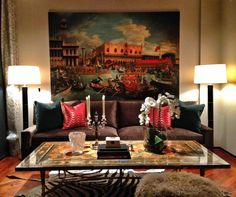 Gorgeous interiors designed by Alyson Jon Interiors (Beaumont location). Love how our luxury red wave pillows bring out the fiery red in the painting. Www.DeborahMainDesigns.com