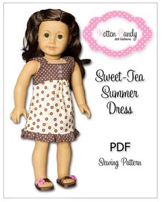 PDF Sewing Pattern for 18 Inch American Girl Doll Clothes - Sweet-Tea Summer Dress ePattern. $4.99, via Etsy.