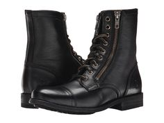 Frye - Tyler Double Zip (Black Soft Vintage Leather) Women's Lace-up Boots