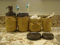 Ball Mason Jars, 17 Add'l Colors, Bathroom Set, Bronze Lids, Nickel Lids, Soap Dispener, Toothbrush Holder, Accessory Jars, 3 oz. Cup Holder by ItWorks4Me on Etsy