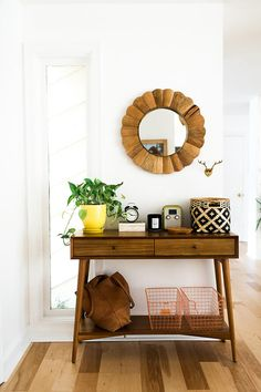 I can't imagine an entryway without a console table: it holds everything you may need, it is a great storage and doesn't take too much of precious space. Entryway Console Table, Entry Tables, Entryway Decor, Foyer, Interior Decorating, Interior Design, Shop Interiors, Step Inside, My New Room