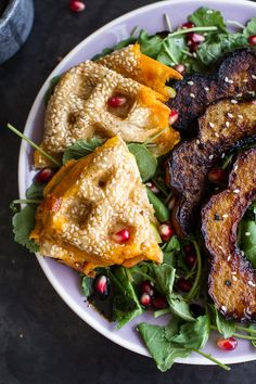 Miso Roasted Acorn Squash + Pomegranate Salad w/Waffled Cheddar Apple Tahini Grilled Cheese Triangles