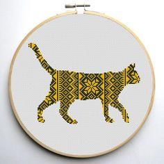 Nordic Ornament Christmas Cat Cross Stitch Pattern   Craftsy