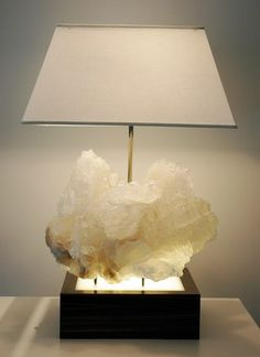 """Crystal cluster lamps (love them); """"how's about a huge mineral specimen attached to your lamp, sorry.. you cant pick it up..it weighs 40 lbs.."""""""