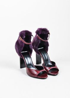 Burgundy and Purple Pierre Hardy Snakeskin and Mink Fur Ankle Sandals