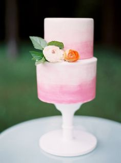 Ombre in a coordinating pink or berry tone could be gorgeous! Either with or without fresh flowers. (Ombre Cake)