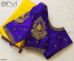 Vibrant peacock neck blue color designer blouse with triple Lakshmi devi motif on sleeves boarder. Creeper and floral design hand embroidery thread and bead work on neckline. Bride and groom name letters tassels. Blouse Back Neck Designs, Cutwork Blouse Designs, Hand Work Blouse Design, Pattu Saree Blouse Designs, Simple Blouse Designs, Stylish Blouse Design, Bridal Blouse Designs, Latest Saree Blouse Designs, Simple Designs