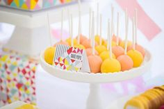 geometric cake pops http://en.paperblog.com/a-fabulous-bright-geometric-party-for-amelie-s-2nd-birthday-by-carly-452216/