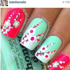 #cherry blossoms #mint green nails
