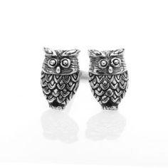 Oxidised silver owl stud earrings.