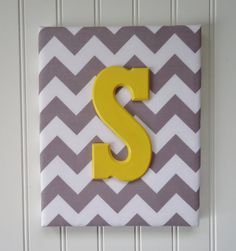 Nursery Decor, Upholstered Letters, Nursery Letters, Wooden Letters, Personalized, Nursery Art, Gray and White Chevron, Yellow Letter. $20.99, via Etsy.