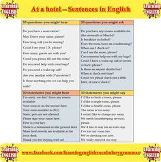 at an hotel - learn how to ask questions in a hotel and things you might hear in a hotel - learning basic English