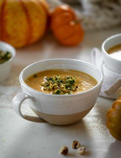 This pumpkin cream soup is silky smooth and delicious, then topped with a roasted hazelnut gremolata for extra flavor and crunch! Cream Of Pumpkin Soup, Cream Soup, Easy Dinner Recipes, Gourmet Recipes, Healthy Recipes, Butternut Squash Lasagna, How To Roast Hazelnuts, Bowl Of Soup, How Sweet Eats