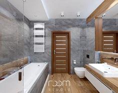 Aranżacje wnętrz - Łazienka: Łazienka szara z drewnem - Duża łazienka na poddaszu w domu jednorodzinnym z oknem, styl nowoczesny - ROOM STUDIO. Przeglądaj, dodawaj i zapisuj najlepsze zdjęcia, pomysły i inspiracje designerskie. W bazie mamy już prawie milion fotografii!